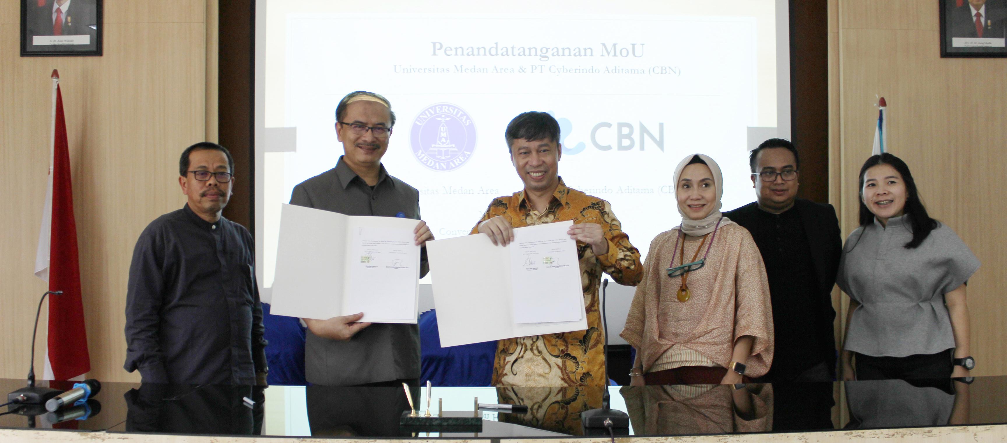Penandatanganan MoU Universitas Medan Area Dengan PT. Cyberindo Aditama (CBN) Serta Kegiatan Kuliah Umum
